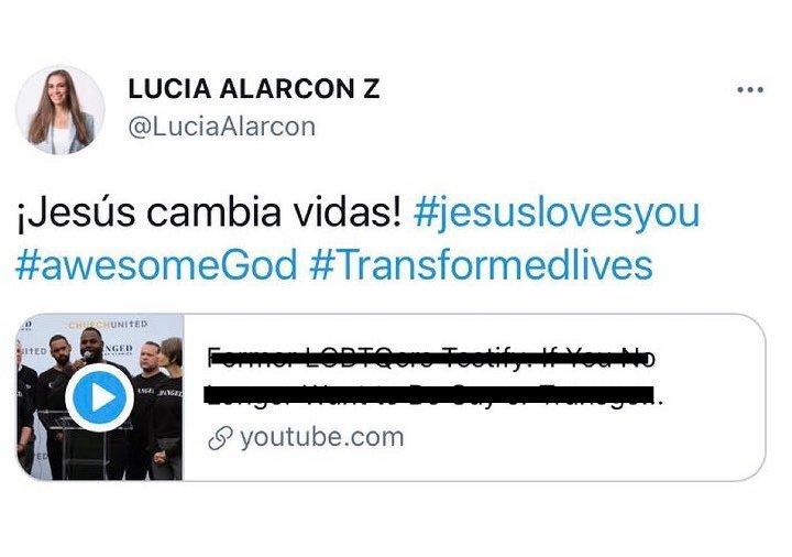 """""""¡Jesús cambia vidas!"""" fue el mensaje con el que Lucía Alarcón acompañó un video de un canal cristiano / Imagen: Captura de pantalla, modificada para evitar la dispersión del mensaje violatorio de la ley."""