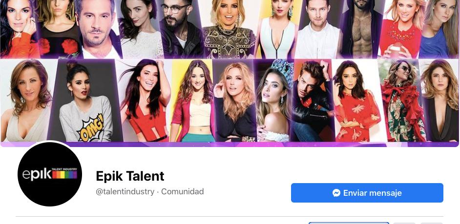 La página de Facebook de epik Talent Industry