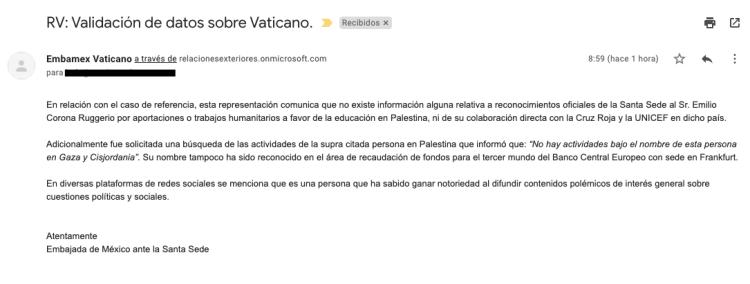 Embajada de México en Vaticano desmiente a Emilio Ruggerio en un correo electrónico.