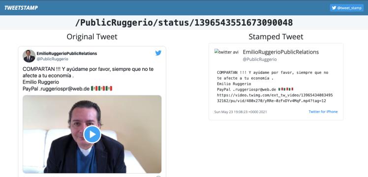 Emilio Ruggerio pide donativos en nombre de UNICEF y Cruz Roja Internacional