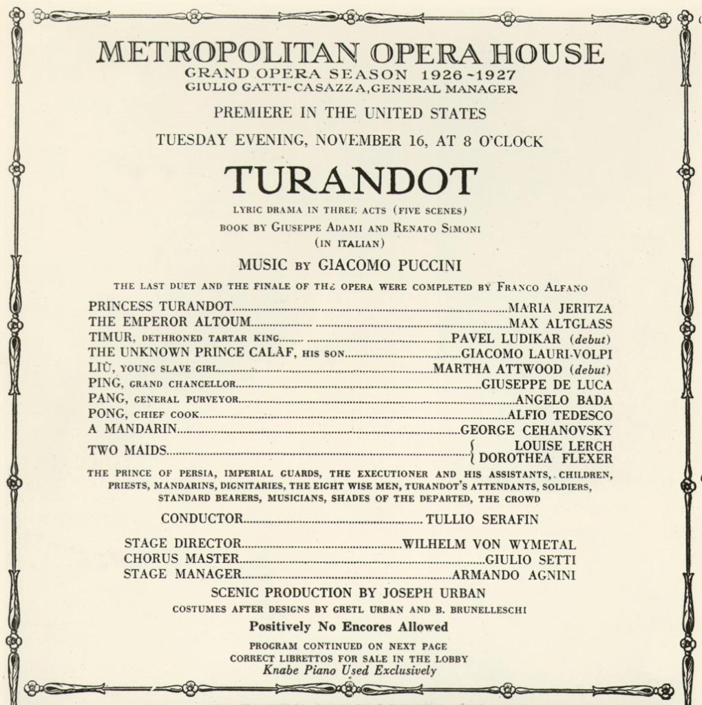 Programa de mano del estreno en Estados Unidos la ópera Turandot, de Puccini, en la temporada 1926-27 de la Metropolitan Opera House.