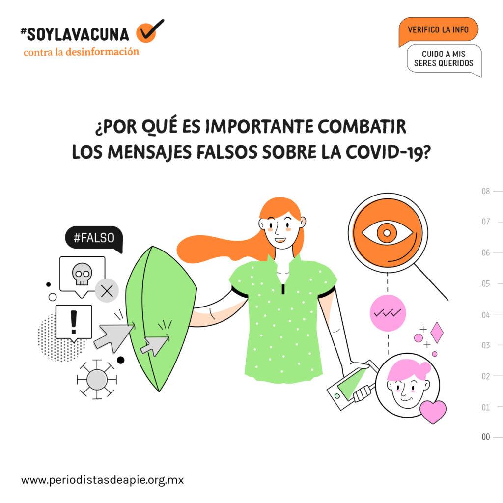 Cartel de la campaña #SoyLaVacuna, de Periodistas de a Pie