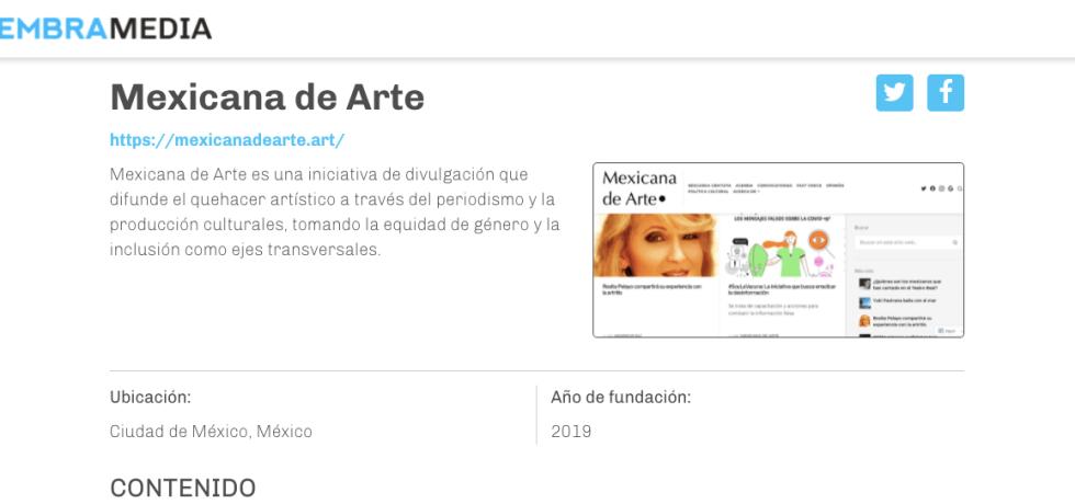 Apartado de Mexicana de Arte en el Directorio de Medios Digitales de Sembramedia